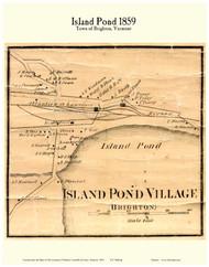 Island Pond Village, Vermont 1859 Old Town Map Custom Print - Essex Co.