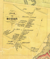 Benson Village, Vermont 1854 Old Town Map Custom Print - Rutland Co.