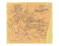 Brandon Village, Vermont 1854 Old Town Map Custom Print - Rutland Co.