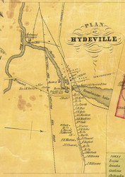 Hydeville Village, Vermont 1854 Old Town Map Custom Print - Rutland Co.