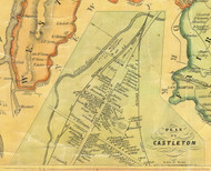 Castleton Village, Vermont 1854 Old Town Map Custom Print - Rutland Co.