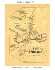 Fairhaven Village, Vermont 1854 Old Town Map Custom Print - Rutland Co.