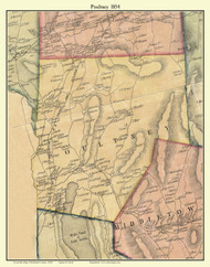 Poultney, Vermont 1854 Old Town Map Custom Print - Rutland Co.