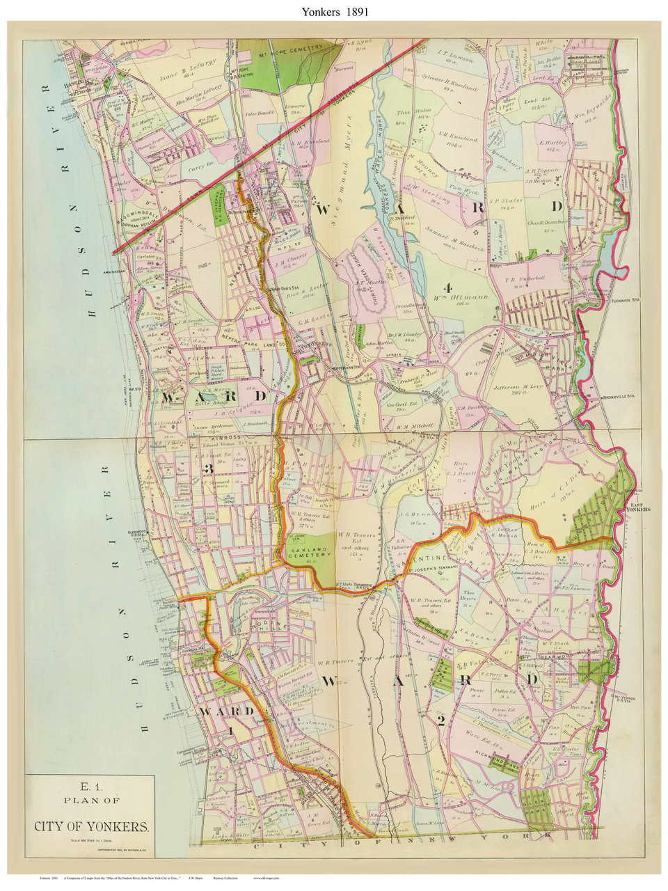 City of Yonkers - Custom, 1891 - Old Map Reprint - NY Hudson River Yonkers Map on richfield springs map, stuyvesant map, staten island map, suffolk counties map, cornwall-on-hudson map, east ramapo map, rondout valley map, wawayanda map, new york map, white plains map, tarrytown train station map, rowayton map, fairport map, clason point map, yaphank map, lakewood map, westchester map, tioga downs map, whitestone map, queens museum map,