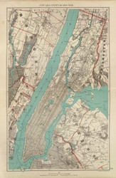 City and County of New York, New York 1893 - Old Town Map Reprint - Westchester Co. Atlas
