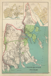 Westchester and Pelham, New York 1893 - Old Town Map Reprint - Westchester Co. Atlas