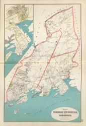 Scarsdale, New Rochelle, and Mamaroneck, New York 1893 - Old Town Map Reprint - Westchester Co. Atlas