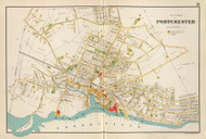 Port Chester Village, New York 1893 - Old Town Map Reprint - Westchester Co. Atlas