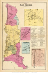 East Chester Town, Waverly, Lakeville, East Chester, and Washingtonville Villages, New York 1868 - Old Town Map Reprint - Westchester Co. - NYC Vicinity Atlas