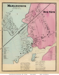 Mamaroneck and Rye Neck Villages - Mamaroneck, New York 1868 - Old Town Map Reprint - Westchester Co. - NYC Vicinity Atlas