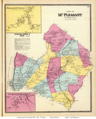 Mt Pleasant Town, Pleasantville and Pleasantville Station Villages, New York 1868 - Old Town Map Reprint - Westchester Co. - NYC Vicinity Atlas