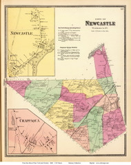 Newcastle Town, Newcastle and Chappaqua Villages, New York 1868 - Old Town Map Reprint - Westchester Co. - NYC Vicinity Atlas