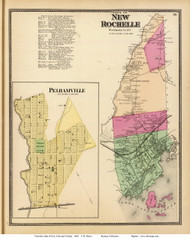 New Rochelle Town and Pelhamville Village, New York 1868 - Old Town Map Reprint - Westchester Co. - NYC Vicinity Atlas