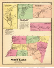 North Salem Town, Croton Falls, Purdy Station, North Salem, and Salem Centre Villages, New York 1868 - Old Town Map Reprint - Westchester Co. - NYC Vicinity Atlas