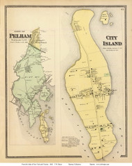 Pelham Town and City Island Village, New York 1868 - Old Town Map Reprint - Putnam Co. - NYC Vicinity Atlas