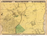 Unionport, Westchester and Schuylerville Villages - Westchester, New York 1868 - Old Town Map Reprint - Westchester Co. - NYC Vicinity Atlas