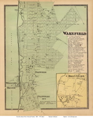 Wakefield, Olinvile, Williams Bridge and Bronxdale Villages - Westchester, New York 1868 - Old Town Map Reprint - Westchester Co. - NYC Vicinity Atlas