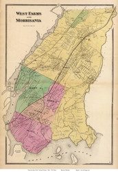 West Farms and Morrisania, New York 1868 - Old Town Map Reprint - Westchester Co. - NYC Vicinity Atlas