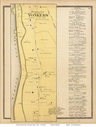 Yonkers, Northern Part, New York 1868 - Old Town Map Reprint - Westchester Co. - NYC Vicinity Atlas