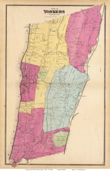 Yonkers, New York 1868 - Old Town Map Reprint - Westchester Co. - NYC Vicinity Atlas
