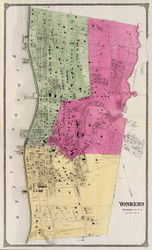 Yonkers Village, New York 1868 - Old Town Map Reprint - Westchester Co. - NYC Vicinity Atlas