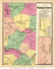 Yorktown Town, Jefferson Valley and Shrub Oak Villages, New York 1868 - Old Town Map Reprint - Westchester Co. - NYC Vicinity Atlas