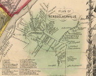 Rensselaerville Village, New York 1854 Old Town Map Custom Print - Albany Co.