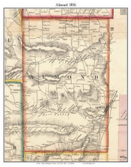 Almond, New York 1856 Old Town Map Custom Print - Allegany Co.