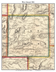 West Almond, New York 1856 Old Town Map Custom Print - Allegany Co.