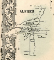 Alfred Village, New York 1856 Old Town Map Custom Print - Allegany Co.