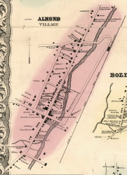 Almond Village, New York 1856 Old Town Map Custom Print - Allegany Co.