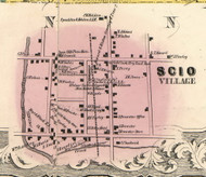 Scio Village, New York 1856 Old Town Map Custom Print - Allegany Co.