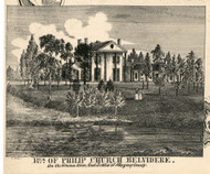 Residence of Philip Church, New York 1856 Old Town Map Custom Print - Allegany Co.