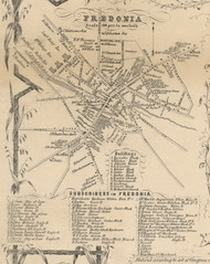 Fredonia Village, New York 1854 Old Town Map Custom Print - Chautauque Co.