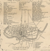Jamestown Village, New York 1854 Old Town Map Custom Print - Chautauque Co.