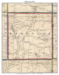 McDonough, New York 1855 Old Town Map Custom Print - Chenango Co.