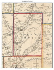 North Norwich, New York 1855 Old Town Map Custom Print - Chenango Co.