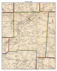 Oxford, New York 1855 Old Town Map Custom Print - Chenango Co.