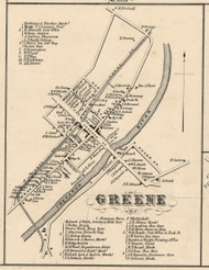 Greene Village, New York 1855 Old Town Map Custom Print - Chenango Co.