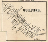 Guilford Village, New York 1855 Old Town Map Custom Print - Chenango Co.
