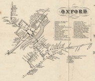 Oxford Village, New York 1855 Old Town Map Custom Print - Chenango Co.