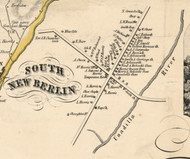 South New Berlin Village, New York 1855 Old Town Map Custom Print - Chenango Co.