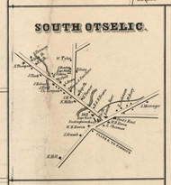 South Otselic Village, New York 1855 Old Town Map Custom Print - Chenango Co.