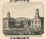CourtHouse, New York 1855 Old Town Map Custom Print - Chenango Co.