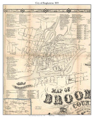 Binghamton Village, New York 1855 Old Town Map Custom Print - Broome Co.