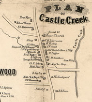 Castle Creek Village, New York 1855 Old Town Map Custom Print - Broome Co.