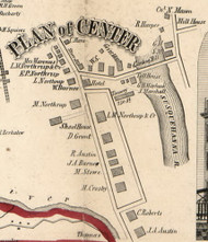 Center Village, New York 1855 Old Town Map Custom Print - Broome Co.
