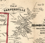Harpersville Village, New York 1855 Old Town Map Custom Print - Broome Co.