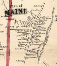 Maine Village, New York 1855 Old Town Map Custom Print - Broome Co.