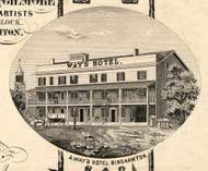 A Ways Hotel, New York 1855 Old Town Map Custom Print - Broome Co.
